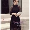 Z-0190 ชุดไปงานแต่งงานน่ารัก แนววินเทจหวานๆ สวย เก๋น่ารัก ราคาถูก สีดำ ผ้าลูกไม้ มีแขน