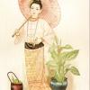 """ภาพศิลปะล้านนา ชื่อภาพ""""แม่หญิงพม่า""""รหัสสินค้า B - 19"""