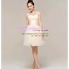 Q-0175 พร้อมส่ง ชุดไปงานแต่งงาน สีแชมเปญ จับเดรปเอว งานปักช่วงอก สวยหวานน่ารัก