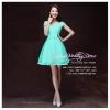 Z-0287 ชุดไปงานแต่งงานน่ารัก แนววินเทจหวานๆ สวย เก๋น่ารัก ราคาถูก สีเขียวมิ้น ไหล่ปาดเก๋ พร้อมส่ง