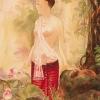 ภาพศิลปะล้านนา แม่ญิงกับดอกบัว รหัสสินค้า B - 32