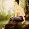 ภาพศิลปะล้านนา ชื่อภาพแม่หญิง รหัสสินค้า B-16