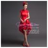 Q-0174 พร้อมส่ง ชุดไปงานแต่งงาน หน้าสั้นหลังยาว สีแดง สวย หรู ราคาถูก