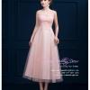 Z-0095 ชุดไปงานแต่งงานน่ารัก แนววินเทจหวานๆ สวย เก๋น่ารัก ราคาถูก สีชมพู ลูกไม้