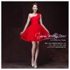 Z-0288 ชุดไปงานแต่งงานน่ารัก แนววินเทจหวานๆ สวย เก๋น่ารัก ราคาถูก สีแดง ไหล่เฉียง พร้อมส่ง