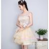 Z-0224 ชุดไปงานแต่งงานน่ารัก แนววินเทจหวานๆ สวย งามสง่า ราคาถูก ผ้าลูกไม้ สีครีม แขนกุด