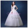 wm5078 ขาย ชุดแต่งงานเจ้าหญิง คอวี แขนกุด สวย หวาน น่ารัก ราคาถูกกว่าเช่า