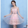 Z-0088 ชุดไปงานแต่งงานน่ารัก แนววินเทจหวานๆ สวย เก๋น่ารัก ราคาถูก สีชมพู แขนกุด
