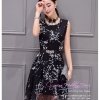 Z-0183 ชุดไปงานแต่งงานน่ารัก แนววินเทจหวานๆ สวย เก๋น่ารัก ราคาถูก สีดำ แขนกุด