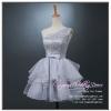 Z-0213 ชุดไปงานแต่งงานน่ารัก แนววินเทจหวานๆ สวย งามสง่า ราคาถูก ผ้าลูกไม้ สีเทา ไหล่เดียว