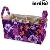 กระเป๋าช่องแบ่งสีม่วงลายดอก Insular