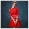 Q-0189 พร้อมส่ง ชุดไปงานแต่งงานน่ารัก สีแดง แขนยาว สุดหรู สวย เก๋น่ารัก ราคาถูก