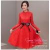 Z-0180 ชุดไปงานแต่งงานน่ารัก ลูกไม้ สุดหรู สวย เก๋น่ารัก ราคาถูก สีแดง แขนยาว แนวหวานๆ