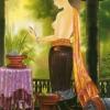 ภาพศิลปะล้านนา รูปแม่ญิงแยงแว่น รหัสสินค้า B - 56