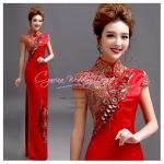 f-0280 ชุดยกน้ำชา กี่เพ้าสีแดงน่ารัก สำหรับงานหมั้นพิธีจีน สวย หรู ดูดี