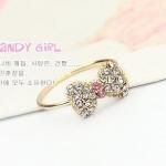 แหวนแฟชั่นเกาหลี แหวนโบว์แต่งพลอย (Free Size)
