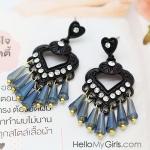 ต่างหูแฟชั่นเกาหลี ต่างหูตุ้งติ้งหัวใจสีดำแต่งพลอยขาวสไตล์ยุโรปห้อยคริสตัลสีฟ้า