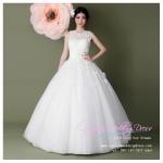 b-0208 ชุดแต่งงานแขนกุด ตกแต่งด้วยดอกไม้ สวยหวาน น่ารักมากค่ะ