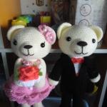 ตุ๊กตาถักคู่หมีแต่งงาน 12 นิ้ว