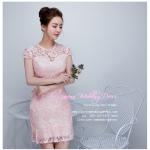 Z-0318 ชุดไปงานแต่งงานน่ารัก แนววินเทจหวานๆ สวย งามสง่า ราคาถูก สีชมพูกลีบบัว เข้ารูป งานหมั้น