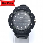 Tetonis นาฬิกาข้อมือผู้ชายสายยาง กันน้ำ รุ่น 2373-2 สีดำ/เงิน