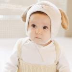 หมวกหมาน้อยสีขาวขนนุ่ม