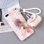 เคสมือถือ iPhone7Plus-เคสสกรีนลายดอกไม้มีสายคล้อง [Pre-Order]