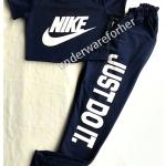 เสื้อครอปเอวลอย กางเกงขายาว สี กรมท่า