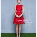 Z-0324 ชุดไปงานแต่งงานน่ารัก แนววินเทจหวานๆ สวย งามสง่า ราคาถูก สีแดง