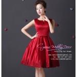 Z-0064 ชุดไปงานแต่งงานน่ารัก แขนกุด สุดหรู สวย เก๋น่ารัก ราคาถูก สีแดง