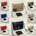 กระเป๋า Chanel mini 8นิ้ว หนังเรียบปั๊มลายดอกคามิเลีย สายโซ่ร้อยหนัง งานเกรดพรีเมี่ยมค่ะ