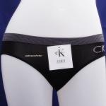กางเกงในผู้หญิง CK สีดำขอบลายถี่ ปัก logo  ckที่ด้านหน้าข้างซ้าย