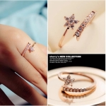 แหวนแฟชั่นเกาหลี แหวนสีพิงค์โกลด์รูปดาวฝังเพชร (Free Size)