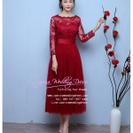 Z-0061 ชุดไปงานแต่งงานน่ารัก มีแขน ผ้าลูกไม้ สุดหรู สวย เก๋น่ารัก ราคาถูก สีแดง
