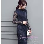 Z-0187 ชุดไปงานแต่งงานน่ารัก แนววินเทจหวานๆ สวย เก๋น่ารัก ราคาถูก สีน้ำเงิน แขนยาว