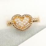 แหวนแฟชั่นเกาหลี แหวนหัวใจสีทองแต่งมุกหรือเพชร