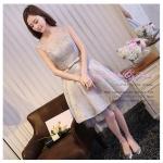 Z-0087 ชุดไปงานแต่งงานน่ารัก ลูกไม้ สุดหรู สวย เก๋น่ารัก ราคาถูก สีเทา