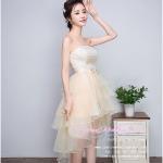 Z-0223 ชุดไปงานแต่งงานน่ารัก แนววินเทจหวานๆ สวย งามสง่า ราคาถูก ผ้าลูกไม้ สีครีม หน้าสั้นหลังยาว