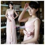 L-0115 ชุดไปงานแต่งงาน ไหล่เฉียง ชุดไปงานแต่งงานกลางคืน สีชมพู สวย หรู หวาน น่ารักมากค่ะ