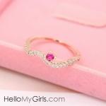 แหวนแฟชั่นเกาหลี แหวนเพชรรูปคลื่นแต่งพลอยชมพู