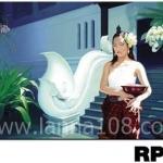 ภาพวาดแนวจริยศิลป์ล้านนา พิมพ์ลงผ้าใบ รหัสสินค้า RP - 14