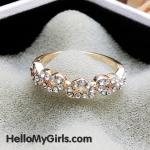 แหวนแฟชั่นเกาหลี แหวนหัวใจต่อกันฝังเพชร