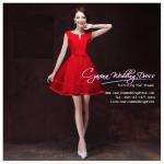Z-0302 ชุดไปงานแต่งงานน่ารัก แนววินเทจหวานๆ สวย เก๋น่ารัก ราคาถูก สีแดง แขนกุด พร้อมส่ง