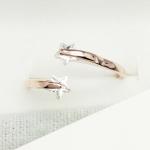 แหวนแฟชั่นเกาหลี แหวนสีพิงค์โกลด์แต่งดาวเพทาย (Free Size)