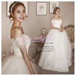 WB40008 ขาย ชุดแต่งงาน ราคาถูก แบบโชว์ไหล่ สวยหรู แบบ ชุดแต่งงานดารา