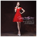 Z-0284 ชุดไปงานแต่งงานน่ารัก แนววินเทจหวานๆ สวย เก๋น่ารัก ราคาถูก สีแดง ไหล่ปาดเก๋ พร้อมส่ง