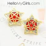 ต่างหูแฟชั่นเกาหลี ต่างหูรูปดาวสีทองฝังเพชรประดับพลอยแดง