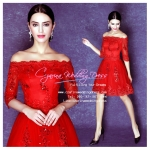 Q-0194 พร้อมส่ง ชุดไปงานแต่งงานน่ารัก สีแดง เปิดไหล่ แขนยาว สุดหรู สวย เก๋น่ารัก ราคาถูก