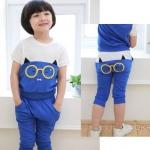 พร้อมส่งค่ะ ชุดเช็ตเสื้อ+กางเกง ลายนกฮูก น่ารักมากๆ สีฟ้า เหลือไซส์ 90