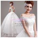 wm5031 ขายราคาถูก ชุดแต่งงานโชว์ไหล่ สวย หวาน หรู เลอค่ามากๆ ค่ะ